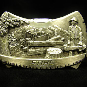 STIHL Chainsaws Vintage Belt Buckle, Lumberjack Buckle, Pewter Buckle, Bergamot Brass Works, Mens Belt Buckle, Trucker Style