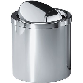 DWBA Round Stainless Steel Wastebasket Trash Can W/ Swing Lid. Chrome