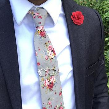 Gray Floral Skinny Tie Boyfriend Gift Men's Gift Anniversary Gift for Men Husband Gift Wedding Gift For Him Groomsmen Gift for Friend Gift