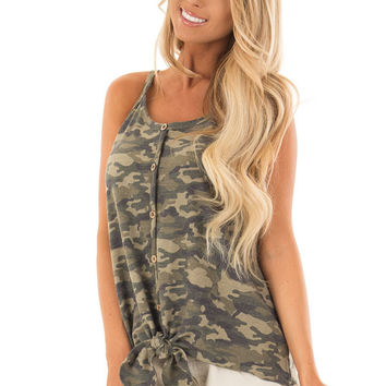 Camo Print Button Up Tank Top with Front Tie Detail