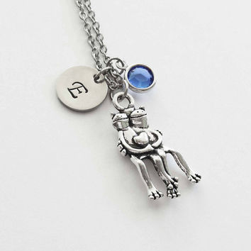 Hugging Frogs Necklace, Frogs Heart Necklace, Frog Couple, Swarovski Birthstone, Silver Initial, Personalized, Monogram, Hand Stamped Letter