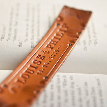 Custom Leather bookmark Design your own pick text by MesaDreams