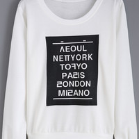 White Letters Print Long Sleeve Sweatshirt