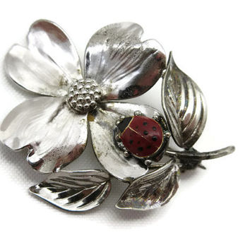 Sterling Silver Dogwood and Ladybug Brooch - Enamel, Flower Pin, Estate Jewelry