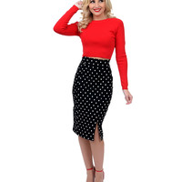 Black & White Polka Dot High Waist Pencil Skirt