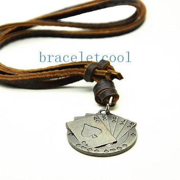 soft leather necklace Poker pendant men leather long necklace, women leather necklace  CR24