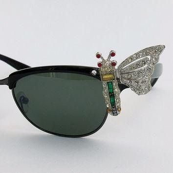 Tagre™ SALE Vintage 50s style BUTTERFLY cateye rhinestones sunglasses clubmaster Ray ban type