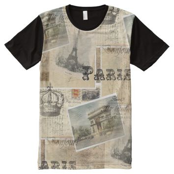 French Postcard Collage T-shirt