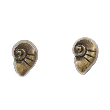 Licensed cool NEW Disney The Little Mermaid Ariel Conch Shell Stud Earrings Gold Tone Jewelry