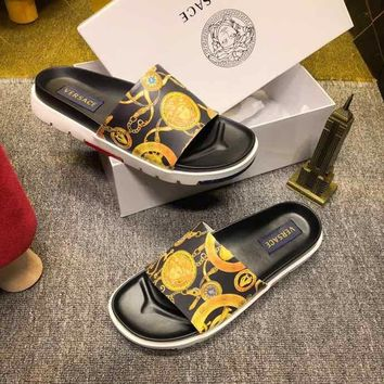 Versace Black/Yellow Women Men Casual Fashion Flat Sandal Slipper Shoes