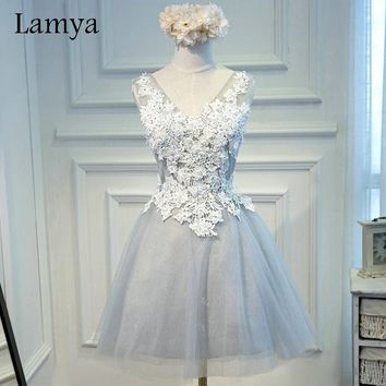 Lamya 2017 Cheap Short Lace Ball Gown Prom Dresses Fashion Plus Size Fromal Party Dress Vestidos De Novia WD2937