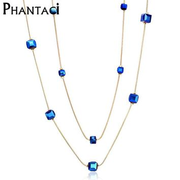 2017 Hot Austria Crystal Double Layer Necklaces & Pendants Female Gold Color Long Chain Vintage Geometric Bead Necklace Women