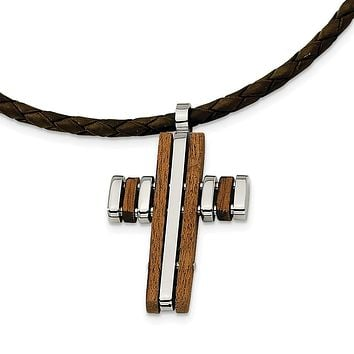 Stainless Steel Wood Accent Cross Pendant Necklace 18in
