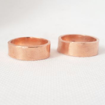 Copper Wedding Band Set, Artisan Wedding Bands, Handmade in the USA