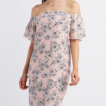 Off-the-Shoulder Floral Print Shift Dress