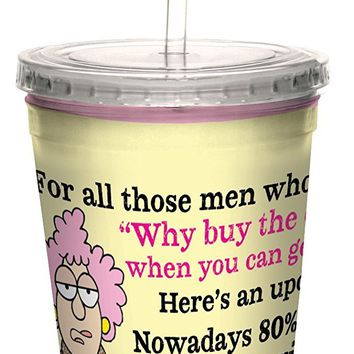 Tree-Free Greetings cc33887 Hilarious Aunty Acid Double-Walled Cool Cup with Reusable Straw, Free Milk, 16-Ounce
