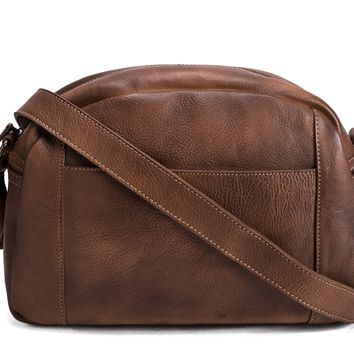 BLUESEBE MEN HANDMADE VINTAGE BROWN VEGETABLE TANNED LEATHER CROSSBODY MESSENGER BAG 9030-VB