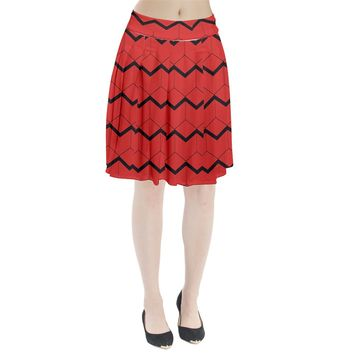 Red Box Pattern Pleated Skirt