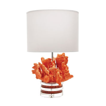 Coral And Crystal Table Lamp In Fire With White Suede Shade