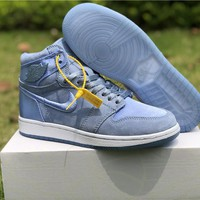 "Air Jordan 1 ""Satin"" Blue Women Sneaker Shoe 36-40"