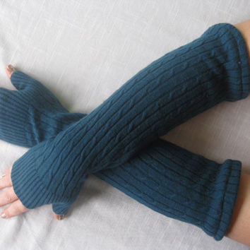 Spring Cashmere Fingerless Gloves - Teal Texting Gloves Arm Warmers : Upcycled Recycled Repurposed Eco Friendly