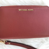 NWT Michael Kors Adele Double Zip Wallet Phone Case Leather Wristlet Brick Red