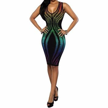 Dance Floor Fluorescence Neon Bodycon Dress