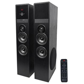 "Rockville TM80B Black Home Theater System Tower Speakers 8"" Sub/Bluetooth/"