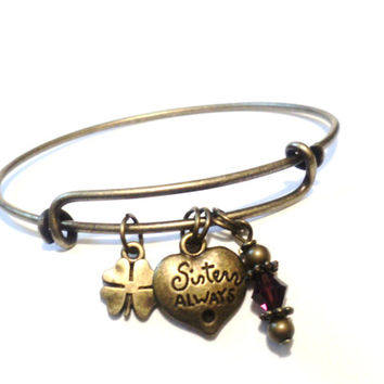 Sisters Always Bangle Bracelet Yoga Jewellery Healing Amethyst Friends Forever Charm Bestie Charm Boho Adjustable Christmas Stocking Stuffer