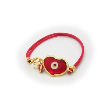 Red Crystal Evil Eye Leather Bracelet