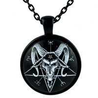 Baphomet Goat Head Inverted Pentagram Necklace Occult Jewelry Pendant