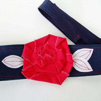 Navy Blue with red rosette headband, Houston Texans, New England Patriots, NFL, College Football Basketball Volleyball Softball