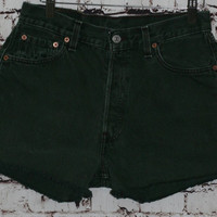 High Waist Denim Shorts Levis 501 cut offs distressed fringe grunge festival boho hipster gypsy rave club kid 30 S M L 70s 90s green 80s