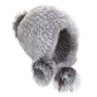 Knitted Mink Fur Hat w/Pom-Poms, blue - Jocelyn