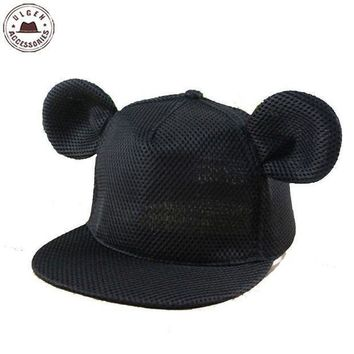 CREYG8W New cute mouse ear hat girls summer mesh hat hip hop Snapback hat for women cute mouse hats mickey Baseball Caps