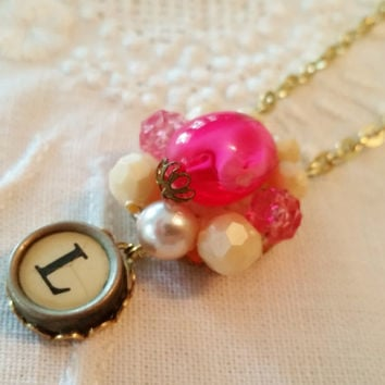 Holiday Necklace, Vintage Upcycled Pink Bead Earring, L Antique Typewriter Key Jewelry, Letter L Monogram Pendant, Festive Christmas Jewelry
