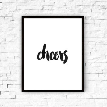 Bar Art, Cheers Wall Art, Black and White Wall Art, Typographic Print, Typography, Bar Print, Printable, Gold Decor, Party Printable, Cheers