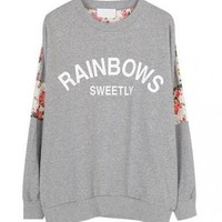 Letters Print Sweatshirt with Floral Lace Insert