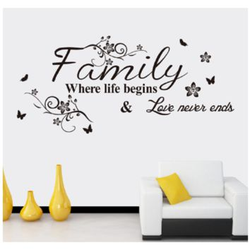 "Home Decor "" Family Where Life Begins Love Never Ends"" Wall Stickers"