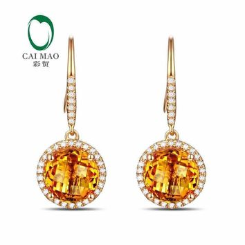 Caimao Jewelry 14KT Yellow Gold 8mm Round Cut 3.32ct Citrine & 0.30ct  Diamond Engagement Earrings free shipping