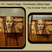 Johnny Depp, Pirates of the Carribbean art, Pirate art, pyrography