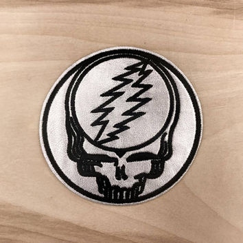 GRATEFUL DEAD PATCH - Iron On, Steal Your Face - Hand Embroidered Patch - Silver Material! Great Gift Idea!