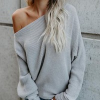 Gray Cable Long Sleeve Chunky Knit Sweater