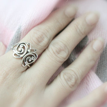 Perforated Butterfly Silver Ring Sterling Ring .925 Silver Ring Personalized Ring