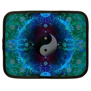 Yin Yang Tao Fractal Netbook/Laptop/Tablet Cover-psychedelic Neoprene case-trippy rave computer-Free US ship