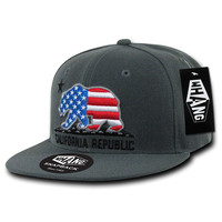 California Republic USA Cali State Bear Flag Snapback Hat by Whang
