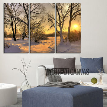 Large Wall Art Landscape Canvas Print Sunrise in Forest in Winter 3 Panel Wall Art Print - Winter Forest Large Canvas Printing