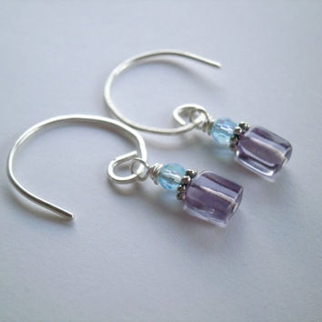 Argentium Sterling Silver Earrings. Gemstone Earrings. Amethyst Jewelry Dainty Earrings Handmade Minimalist Jewelry Under 20 Purple Jewelry.