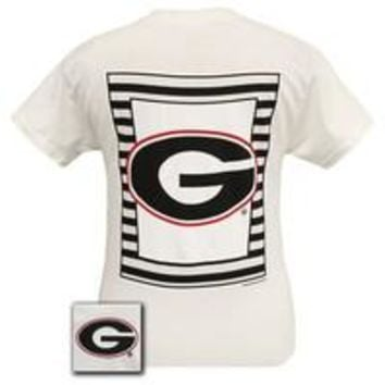 Georgia Bulldogs Glitter Logo Girlie Bright T Shirt