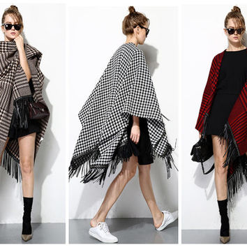 women ponchos,wraps shawls,made from wool,high fashion,leather fringe,Houndstooth pattern,fashion,chic,unique,limited,for winter.--E0277